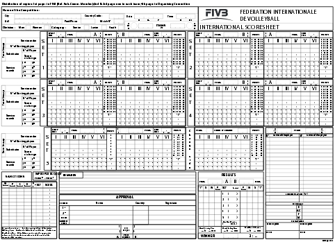 Match Scoresheets | South West Volleyball