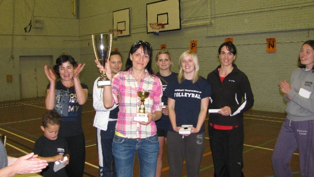 Devon Women picking up their winners trophies